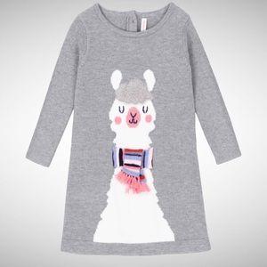 deux par deux Girls Gray knit Lalala Lama Dress
